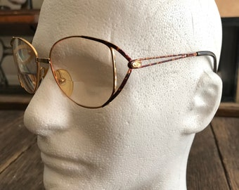 4d6836e5055 Vintage Christian Dior Glasses - Old Lady Style Eyeglasses - Christian Dior  Vintage Glasses - Gold And Tortoise Shell Glasses