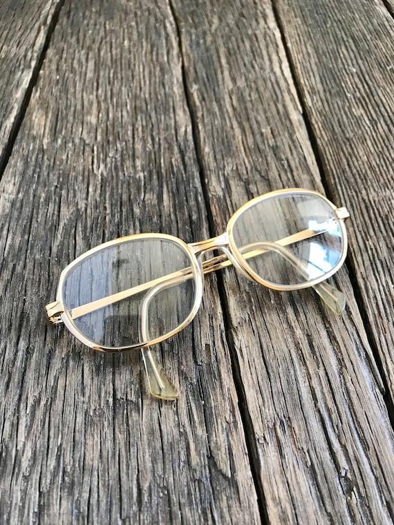 Vintage Gold Metal Framed Eyeglasses - 1980's Gold