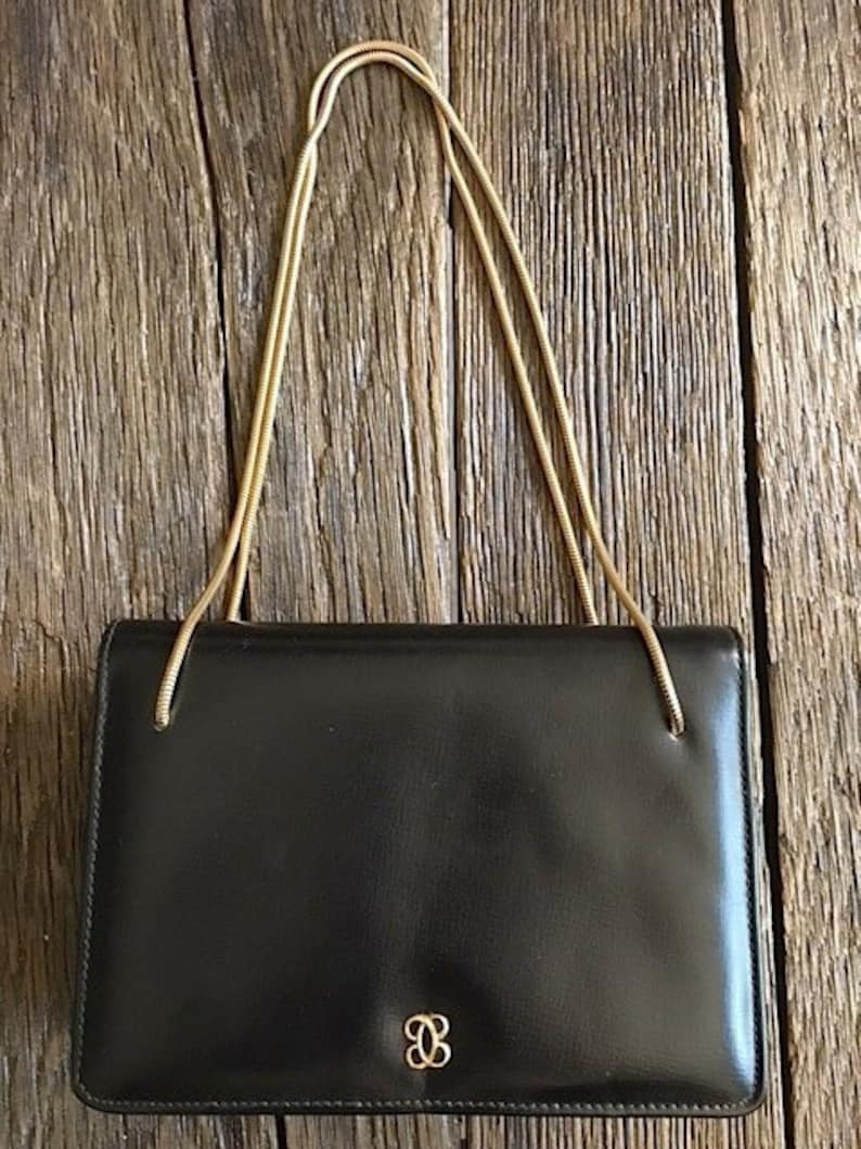 85823575e66 Vintage Black And Gold Purse 1960's Black Purse With | Etsy