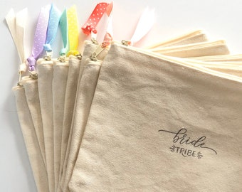 Set of 6 Bridesmaid Canvas Cosmetic Zip Bags