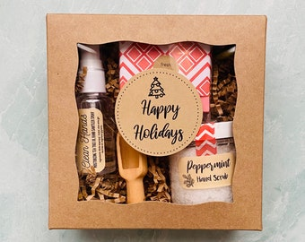 Happy Holidays Hand Sanitizer, Soap and Scrub Gift Set