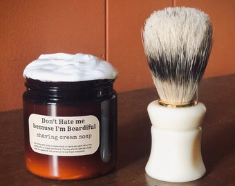 Mens Beard Gift: Shaving Cream and Brush Set
