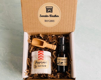Sweater Weather Gift Box: Peppermint Hand Scrub & Room Fragrance