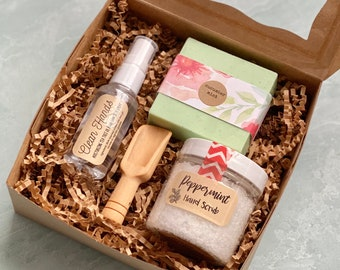 Thinking of You Gift Box with Peppermint Scrub, Bar Soap and Hand Sanitizer Spray
