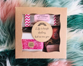 """Life is tough darling, but so are you"" encouragement gift box"