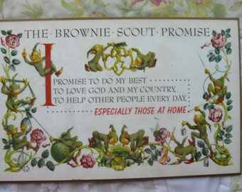 Vintage 1950s Brownie Scout Promise Plaque - Free Shipping