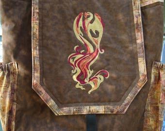 Quilted Phoenix Backpack - Phoenix Art - Fantasy Art