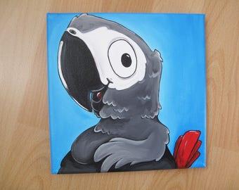 African Grey Parrot, Original Cartoon Bird Painting on Canvas