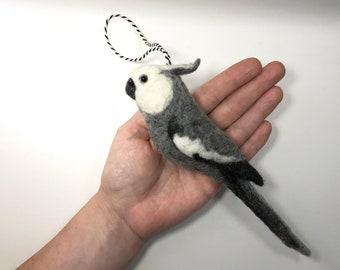Needle felted Cockatiel, Whiteface grey cockatiel, Tree Decoration, Miniature Soft Sculpture