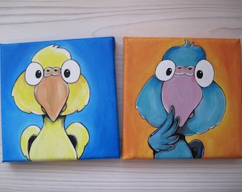 SALE % 2 Original Parrotlet Paintings, blue+yellow, Acrylics on stretched canvas, Bird cartoon