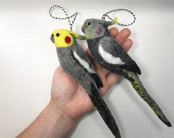 2 needle felted Cockatiels, yellow grey cockatiel, Tree Decoration, Miniature Soft Sculptures, Set of 2