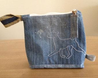 SALE % Zipper Pouch - BASENJI - Repurposed Denim Jeans - Handmade