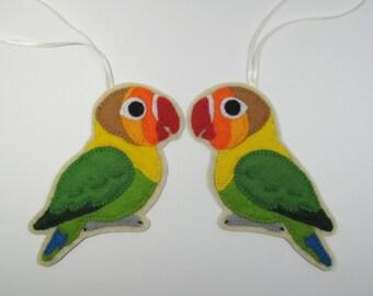 2 Fischer's Lovebirds, 2 Felt Bird Ornaments