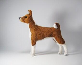 Needle felted Basenji Dog, needle felted pet, animal soft sculpture, dog portrait