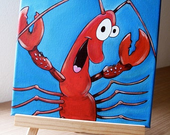 """Original Painting on Canvas """"Guiseppe"""" The happy little Red Crab, Lobster/Shrimp"""