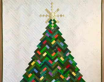PDF Quilt Pattern -- Digital Pattern for New Slant on Christmas quilt; Christmas tree; holiday quilt