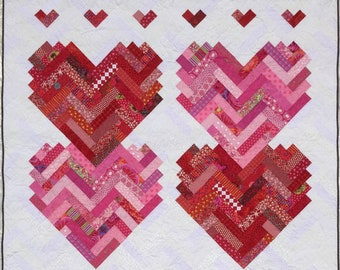 Quilt Pattern -- Paper Pattern for New Slant on Hearts quilt