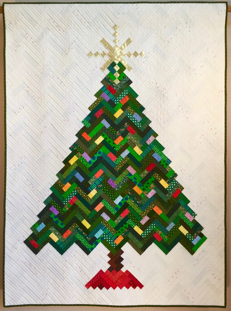 Christmas Quilt.Quilt Pattern Paper Pattern For New Slant On Christmas Quilt Christmas Tree Holiday Quilt