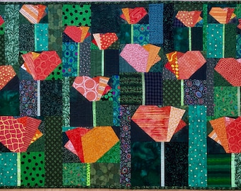 PDF Quilt Pattern -- Digital Pattern for California Poppies quilt
