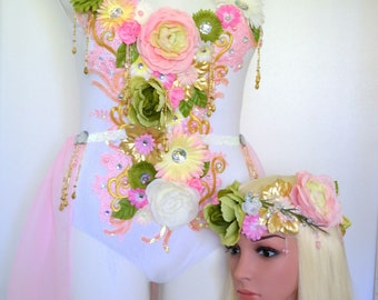 Forest Fairy  Bodysuit, Rave Outfit, Burning Man, EDC Festival Themewear Dance Outfit, Electric Forest, Paradiso