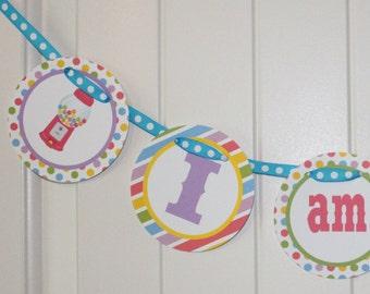 "SWEET SHOPPE Party Happy Birthday ""I am 1"" Highchair 1st Birthday Banner"