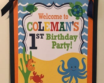 Navy Orange Yellow Party Packs Available UNDER THE SEA Theme Party Happy Birthday Party or Baby Shower Door or Welcome Sign