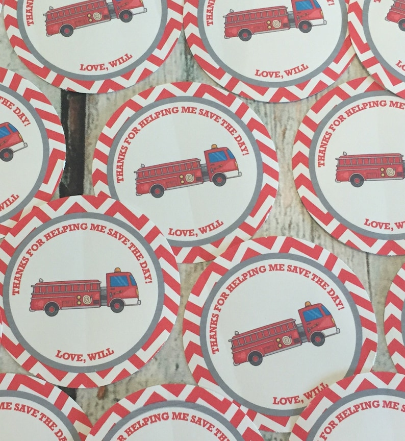 12 Red Black Yellow RED FIRETRUCK Happy Birthday Party or Baby Shower Favor Tags One Dozen Party Packs Available