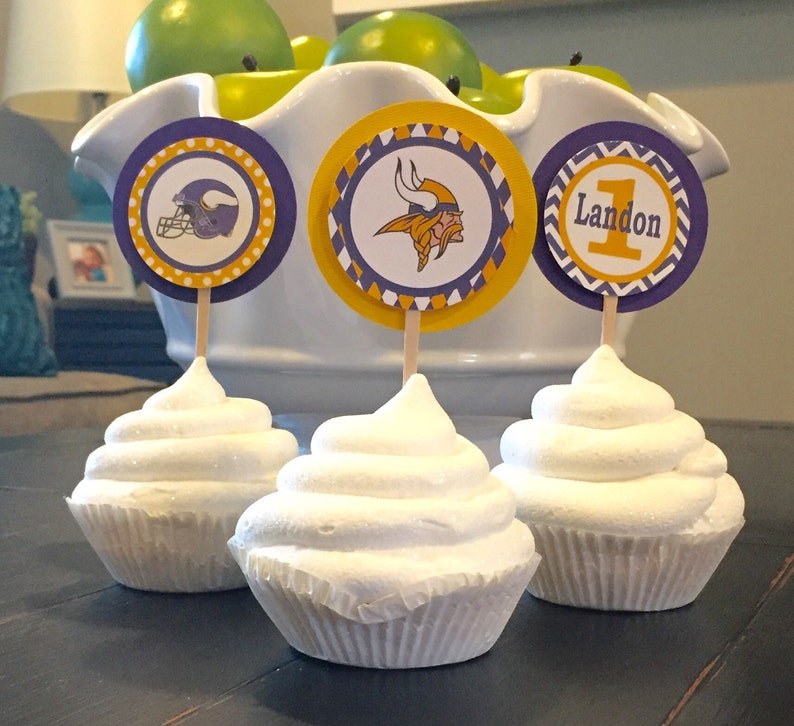 70460088 MINNESOTA VIKINGS FOOTBALL Inspired Happy Birthday or Baby Shower Cupcake  Toppers Set of 12 {1 Dozen} - Party Packs Available