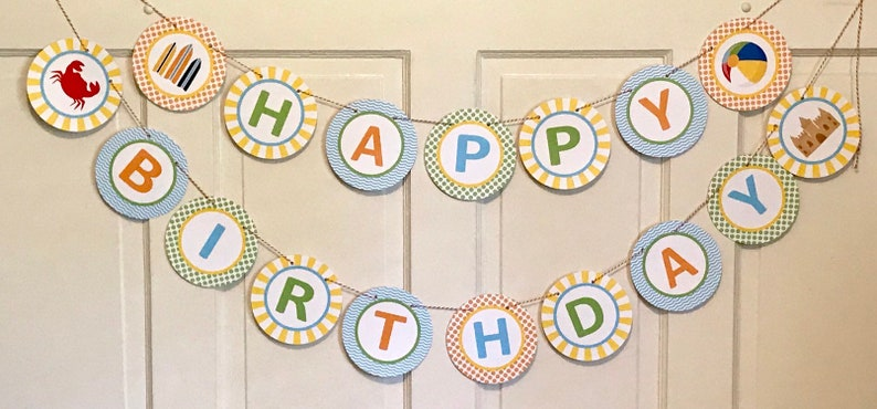 PREPPY  BEACH Baby Shower or Happy Birthday Banner Blue Orange Yellow Party Packs Available