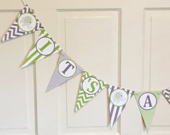 """PREPPY ELEPHANT Birthday or Baby Shower Banner """"It's a Boy""""  Lime Green  Gray Chevron - Party Packs Available"""