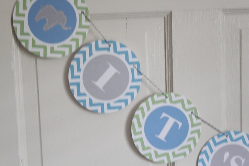 PREPPY CHEVRON ELEPHANT Baby Shower or Happy Birthday Buffet Cards Table Tents Food Labels Signs {Set of 8} Party Packs Available