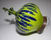 Mid Century California Chartreuse Drip Glazed Pottery Table Lamp Walnut Base