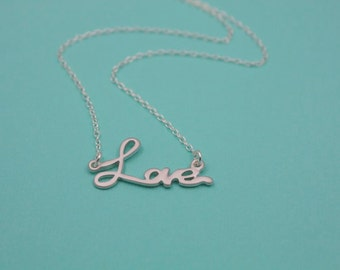 208- Love - Sterling silver love necklace