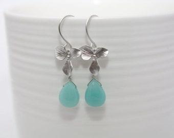 033- Grace - Silver orchid with gemstone briolette earrings