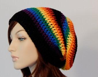 Teen Adult Rainbow Black Slouch Hat c0223da4be6