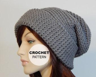 Crochet PATTERN PDF The Frosty Slouch Beanie Folded Cuff  7d299d9ae52