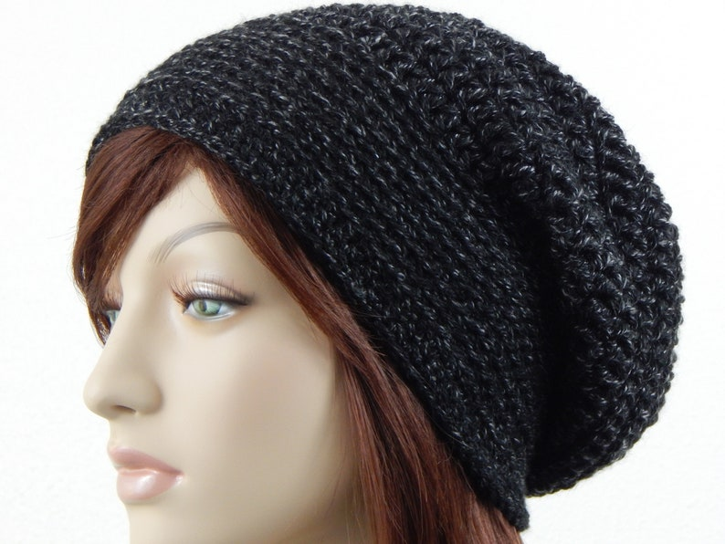 7ce6d6d7b1d Black With Grey Slouch Hat Charcoal Heather Slouchy Beanie