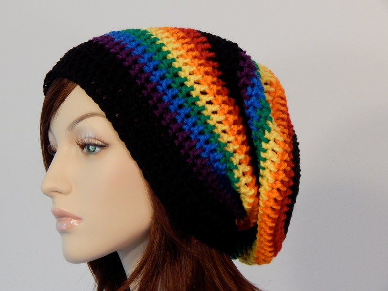 0110a241a47 Teen Adult Rainbow Black Slouch Hat Slouchy Beanie Mens Hat