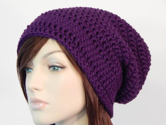 87199043c3d Purple Slouch Hat Dark Purple Slouchy Beanie Womens Hat