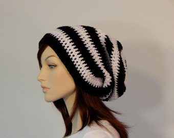 Black and White Slouch Hat, Lots of Slouch, Striped Slouch Beanie, Boho Hat, Womens Hat, Ladies Hat, Teen Slouchy Hat, Winter Hat, Boho Hat