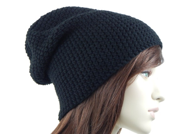 Black Slouch Hat Slouchy Beanie Womens Hat Boho Slouch Hat  3ae474a66