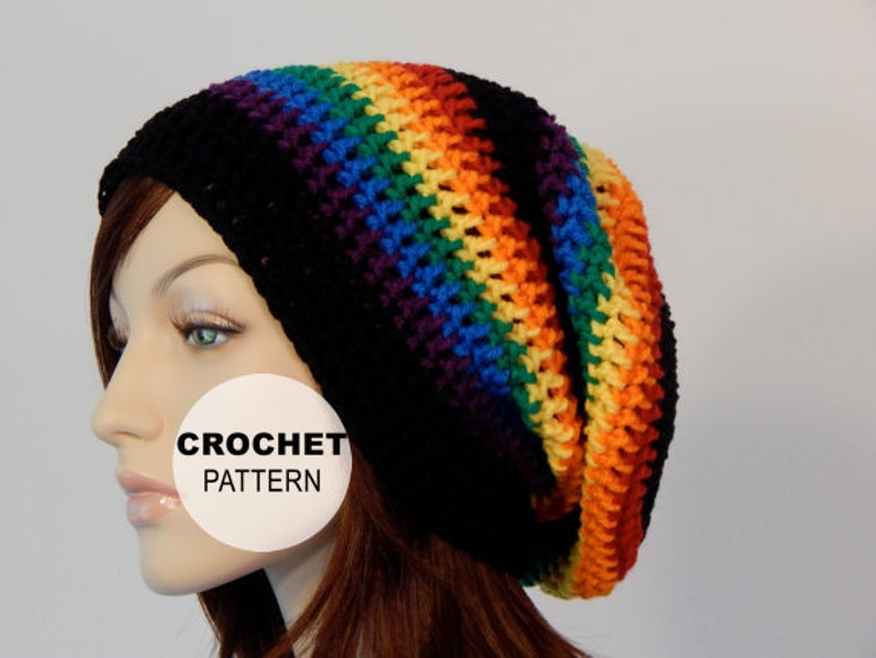 b656ccc92d8 Crochet PATTERN PDF The Rainbow Slouch Beanie Winter Slouchy
