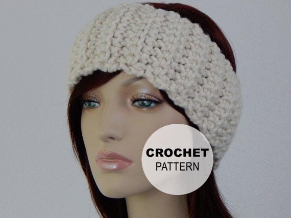 Crochet Pattern Pdf The Lodge Band Wide Ear Warmer Etsy