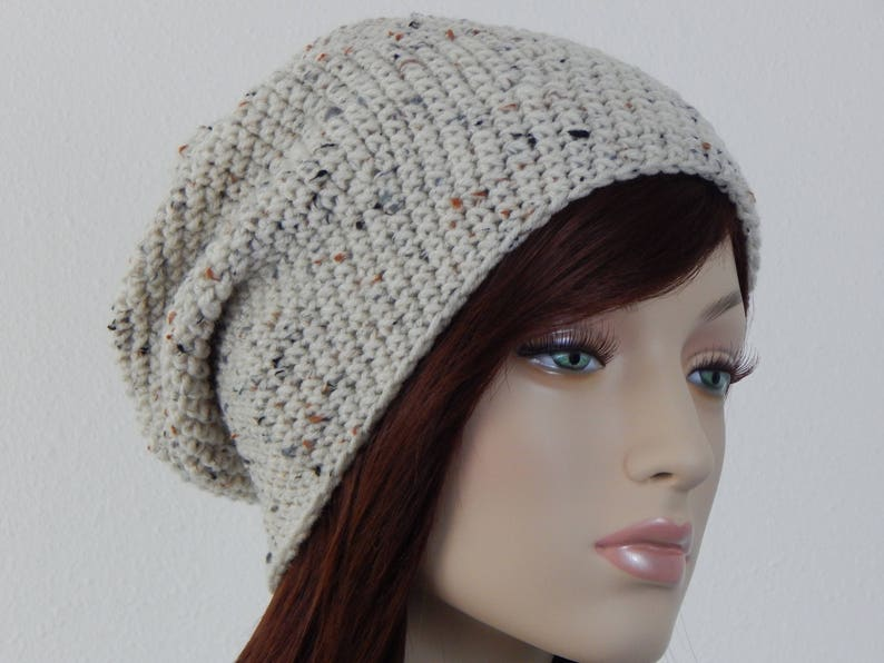 c5e7ff5f4d5 Oatmeal Slouch Hat Moldable Cream Slouchy Beanie Womens Hat