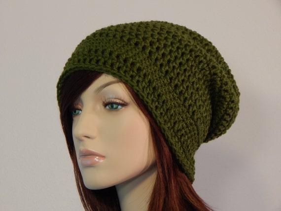 Olive Green Slouch Hat Green Slouchy Beanie Womens Hat Teen  b40fc0a0e5e