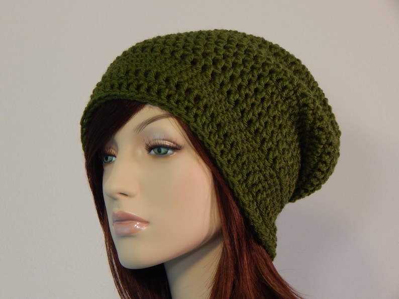 9c0781d5a6f Olive Green Slouch Hat Green Slouchy Beanie Womens Hat Teen