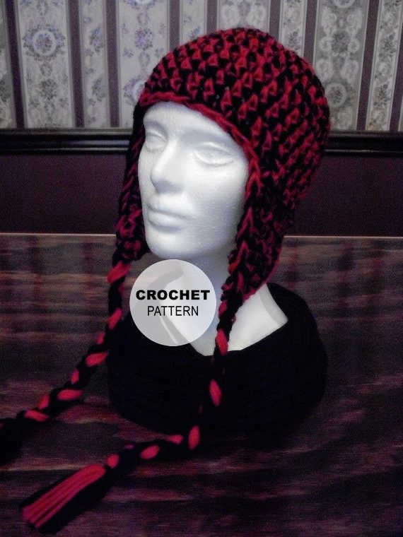 PATTERN Earflap Hat with or without Braids Crocheted Winter  30731b8b2ef