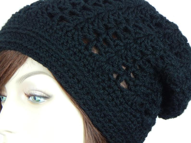 3bcb35686fe Black Lacy Slouch Hat Black Hat Black Slouchy Beanie Womens