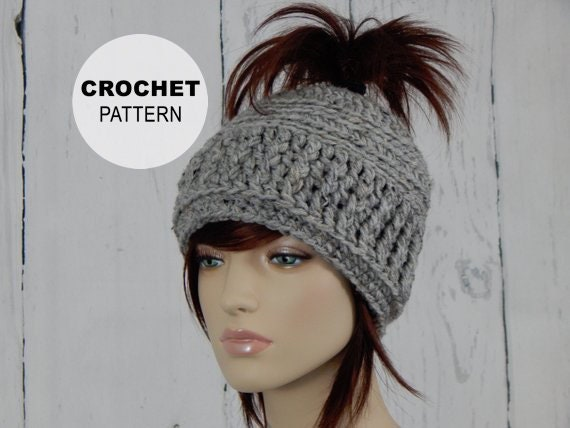 Crochet PATTERN PDF The Messy Bun Hat Open Top Hat Ponytail  23f1a3241fe