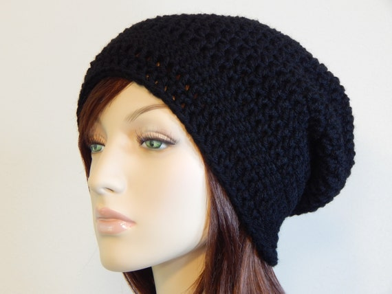 06e20e341e6 Black Slouch Hat Black Slouchy Beanie Black Womens Hat Teen